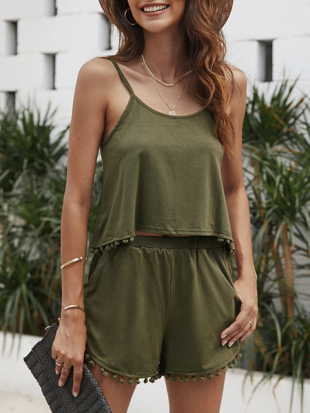 Yoins Armygreen Casual Sport Sleeveless Top and Elastic Waist Short Co-ord with Pom Pom Details