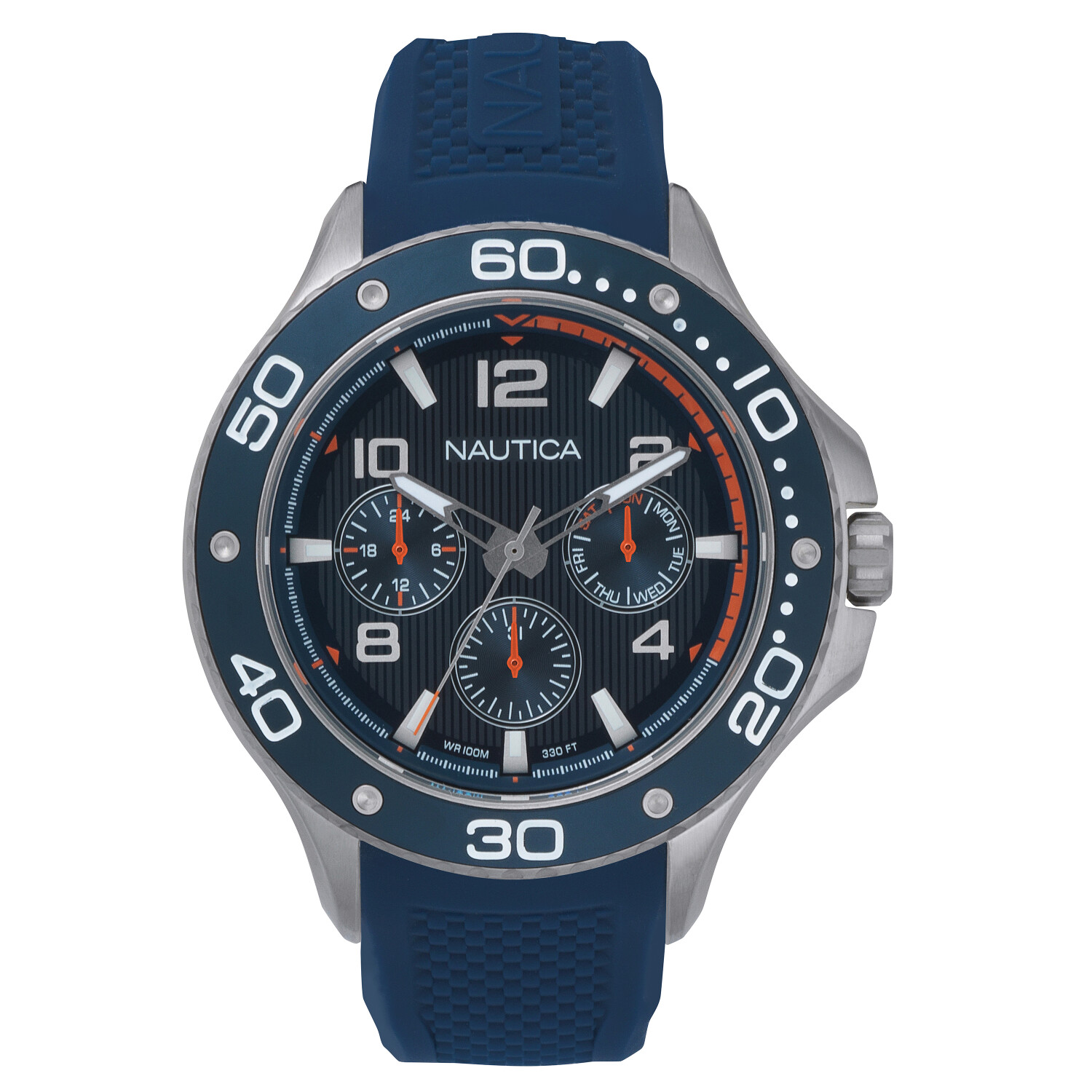 Nautica Watch NAPP25002 Pier, Analog, Water Resistant, Day/Date Display, Luminous Display, Navy Silicone Strap, Blue