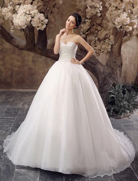 Milanoo Vestido de novia de organza de color marfil con escote de corazon