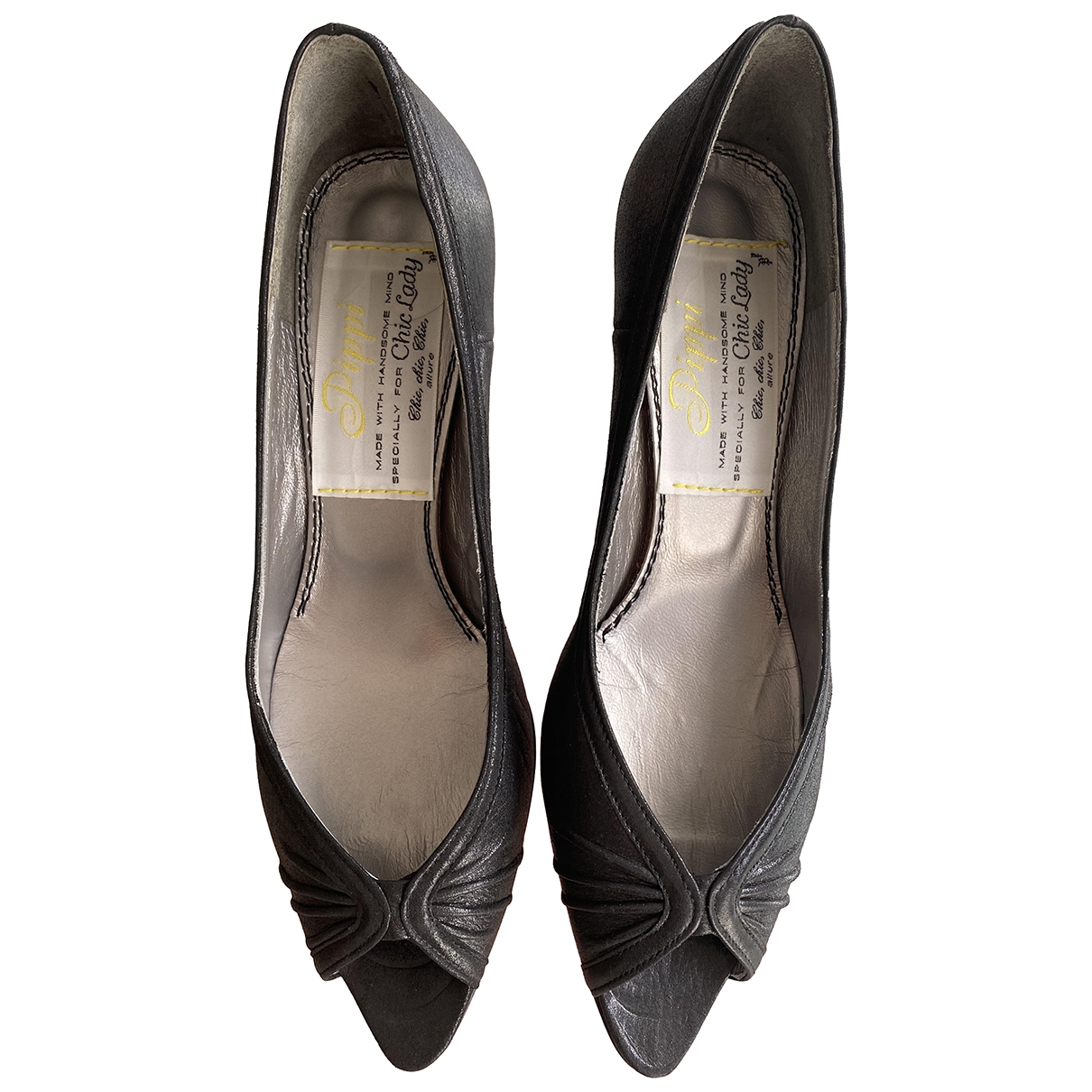 Non Signé / Unsigned \N Black Leather Heels for Women 37 EU