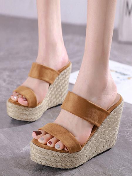 Milanoo Zapatos Sandalias con cuña Cafe Marron Punta redonda Micro Suede Upper