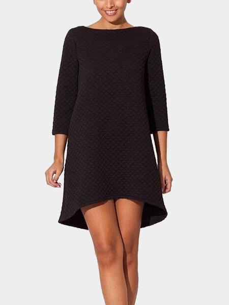 Yoins Black Round Neck 3/4 Length Sleeves Square Pattern Dress