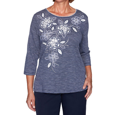 Alfred Dunner Vacation Mode-Womens Round Neck 3/4 Sleeve T-Shirt, Petite Medium , Blue