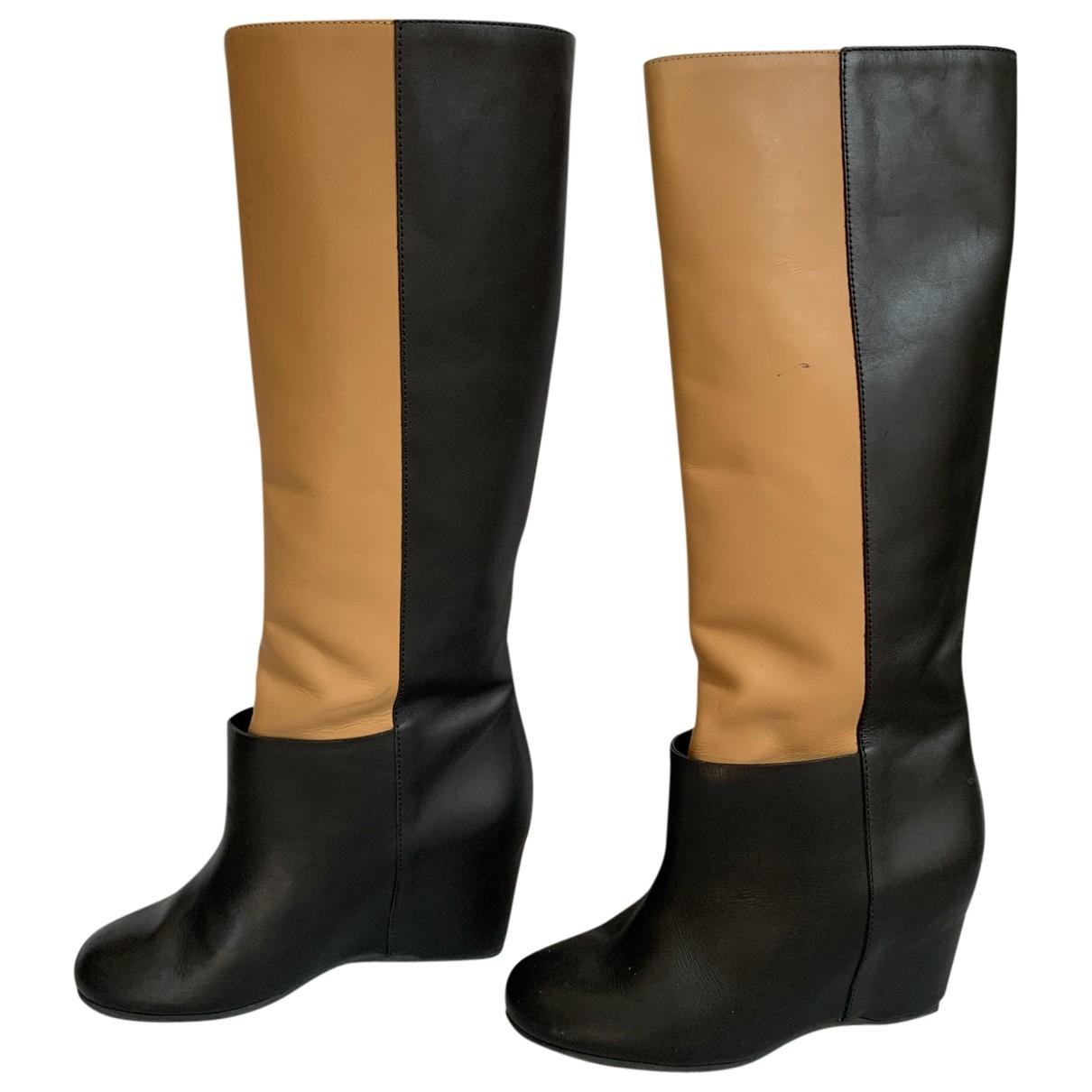 Mm6 - Bottes   pour femme en cuir - beige