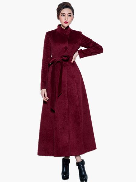 Milanoo Wool Blend Maxi Belted Coat