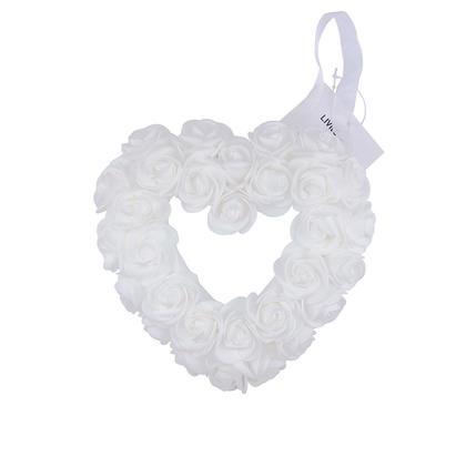 Wedding Heart-Shaped Foam Rose Flower Wreath Hanging with Silk Ribbon - LIVINGbasics™