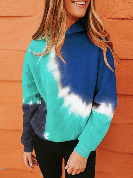 Milanoo Hoodie For Women Blue Long Sleeve Drawstring Tie Dye Hooded Sweatshirt