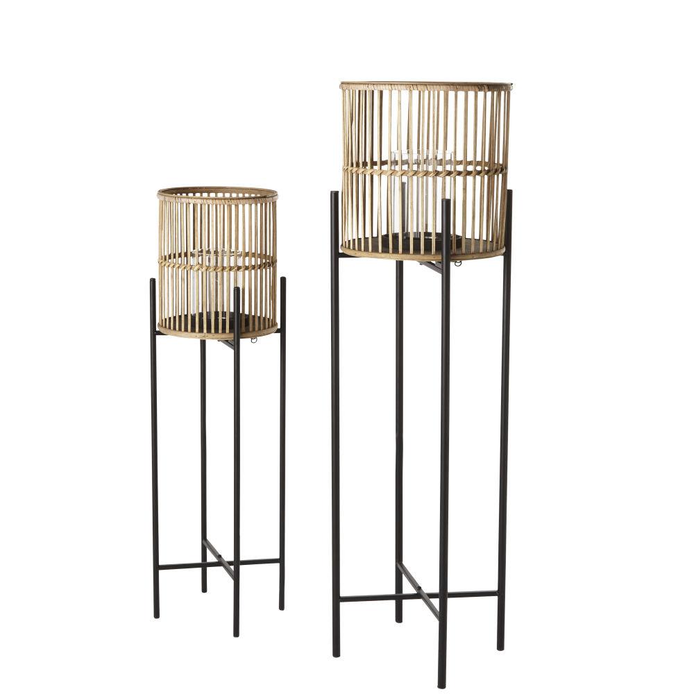Laternen aus schwarzem Metall und Bambus (x2)