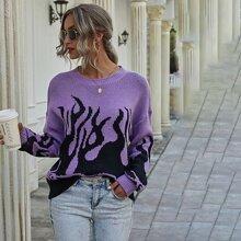 Pullover mit Feuer Muster und sehr tief angesetzter Schulterpartie