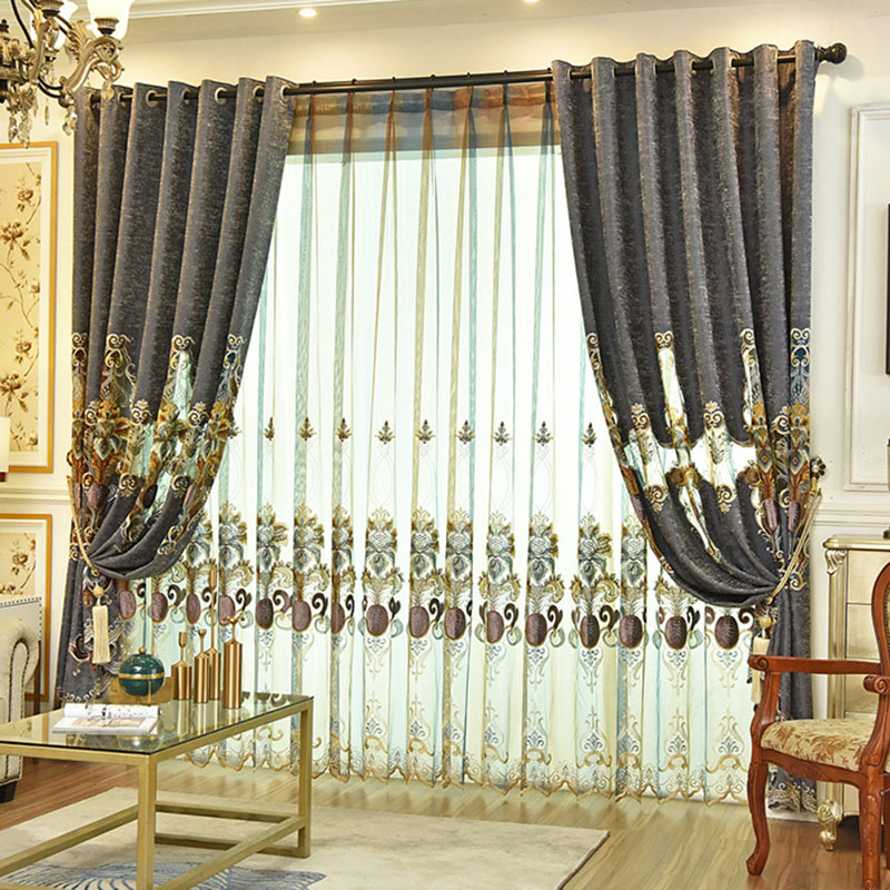 Noble Chiffon Applique Embroidery Custom Living Room Sheer Curtains Pure Hand Carved and Showing a Unique Artistic Taste