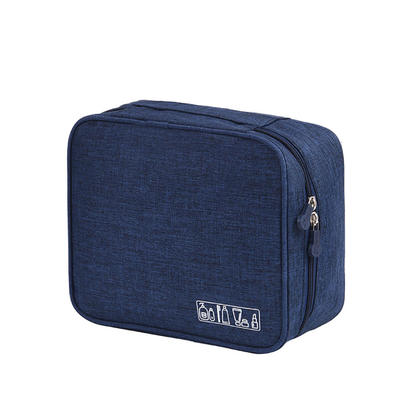 We Remain Open Large Capacity Polyester Multifunction Waterproof Portable Travel Makeup Cosmetic Bag, 1Pc - Navy