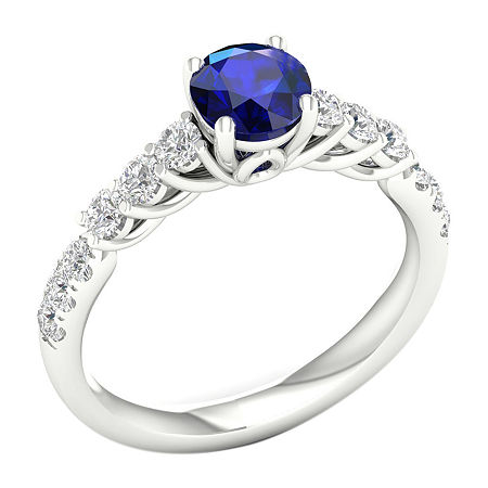 Modern Bride Gemstone Womens 1/2 CT. T.W. Genuine Blue Sapphire 10K White Gold Round Engagement Ring, 6 , No Color Family
