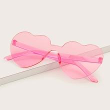 Heart Frame Rimless Sunglasses