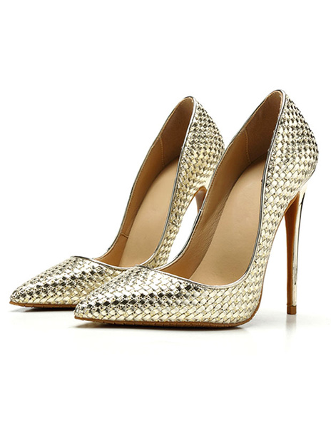 Milanoo Women's High Heels Gold Glitter Pointed Toe Slip-on Stiletto Pumps Basic Heeled Shoes