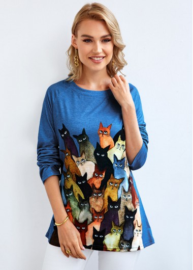 Long Sleeve Cat Print Round Neck T Shirt - 2XL