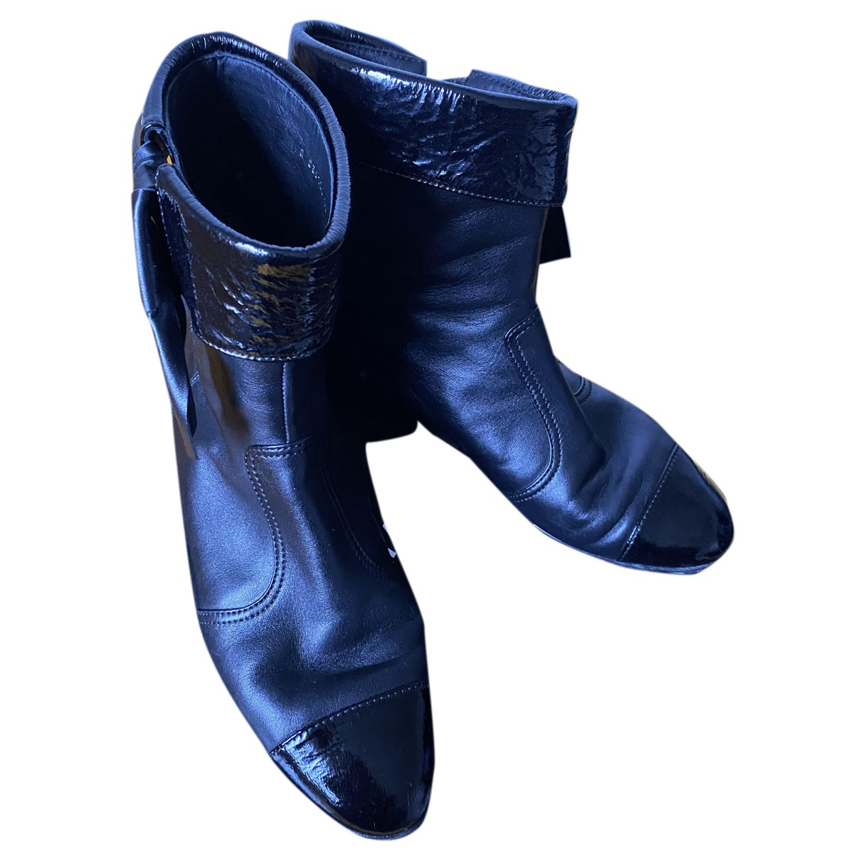 Chanel N Black Leather Boots for Women 38 EU