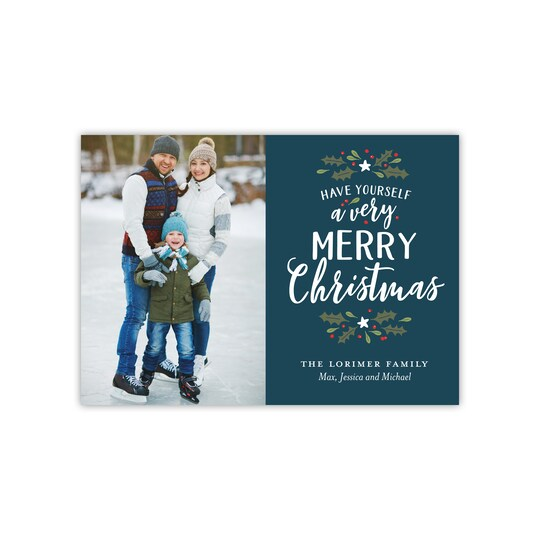 20 Pack of Gartner Studios® Personalized Very Merry Christmas Flat Holiday Photo Card in Navy Blue   5