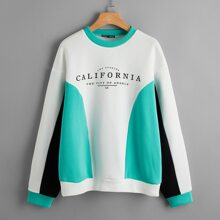 Drop Shoulder Color Block Letter Graphic Pullover