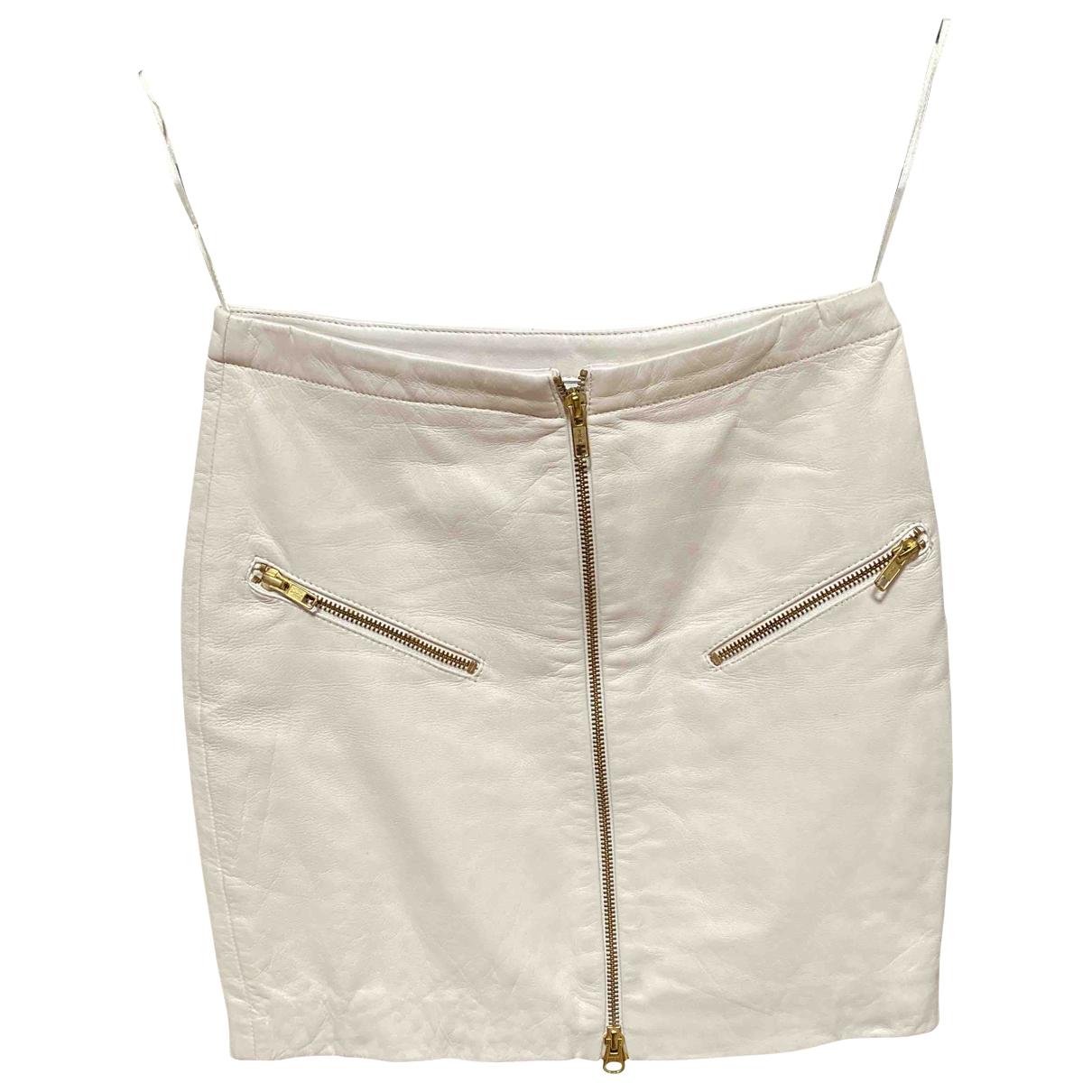 - Jupe   pour femme en cuir - blanc