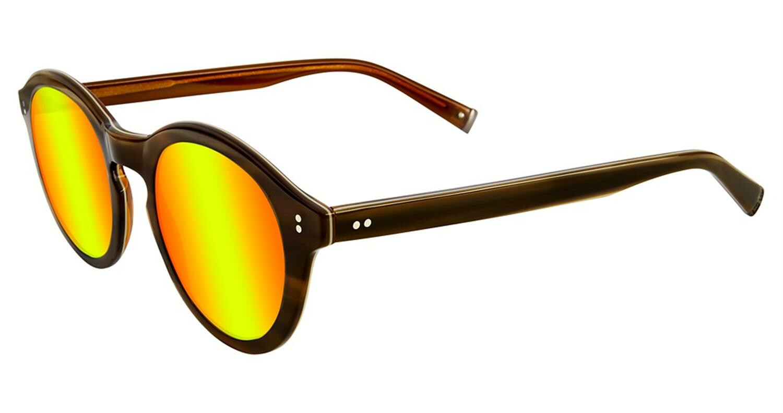 John Varvatos V519OLI47 Mirrored Round Sunglasses Yellow/Brown