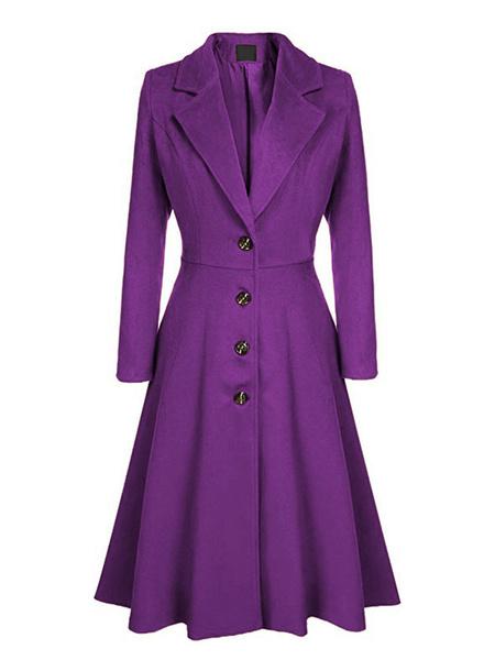 Milanoo Women Swing Coat 1950s Long Sleeve Turndown Collar Fit Flare Winter Coat
