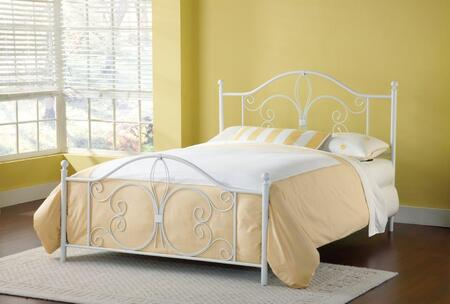 Ruby Collection 1687-460 Full Size Headboard and Footboard Set with Decorative Scrollwork  Delicate Round Finials and Open-Frame Panel Design in