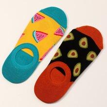 2pairs Men Fruit Pattern Socks