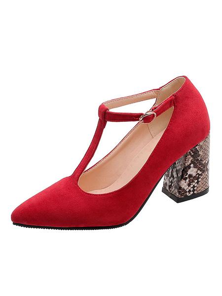 Milanoo Bombas vintage Tacones altos Vendaje tipo T Punta puntiaguda Talon grueso Zapatos de talla grande