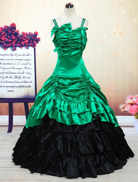 Milanoo Disfraz Halloween Traje de lolita de saten verde con tirantes de estilo clasico  Halloween
