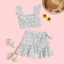 Girls All-over Print Ruffle Detail Shirred Top & Wrap Knot Skirt Set