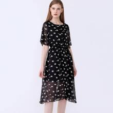 Kleid mit Stern Muster und quadratischem Ausschnitt