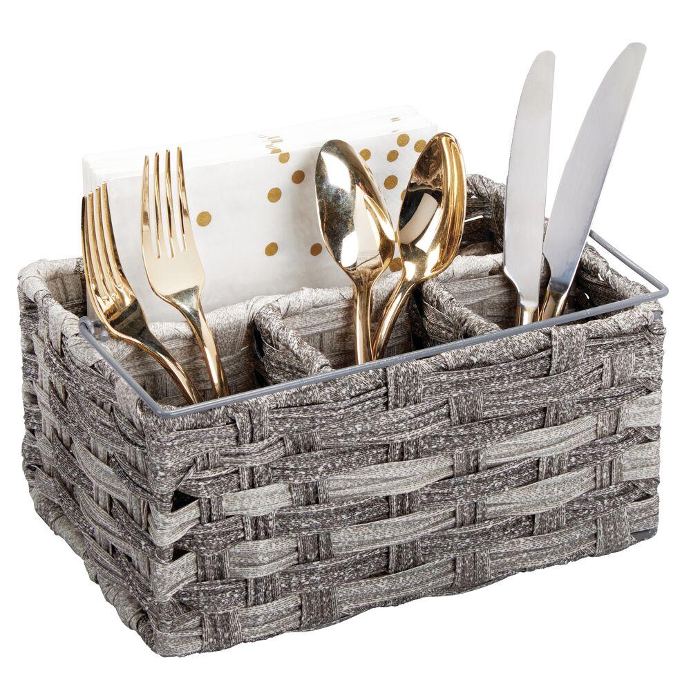 Woven Kitchen Cabinet Cutlery Flatware Basket in Gray, 6.5