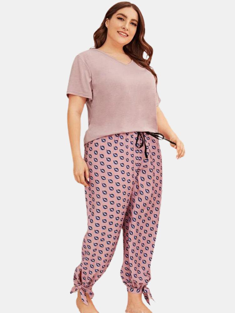 Plus Size Women V-Neck Tee Print Drawstring Tie Beam Feet Long Panty Pajama Sets