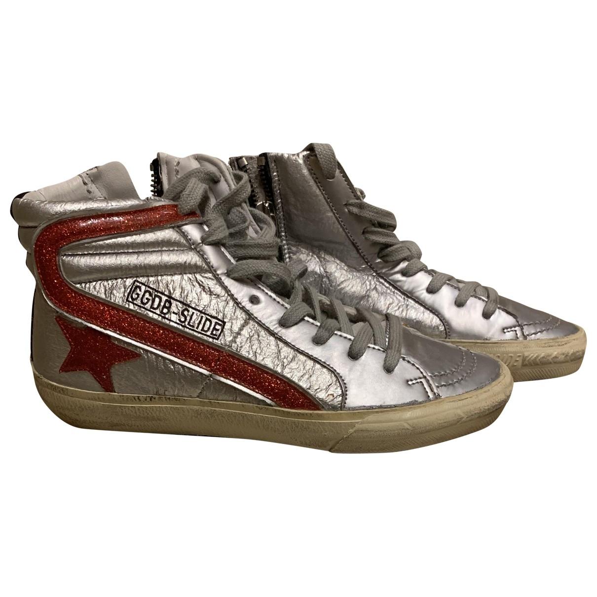 Golden Goose Slide Sneakers in  Silber Leder