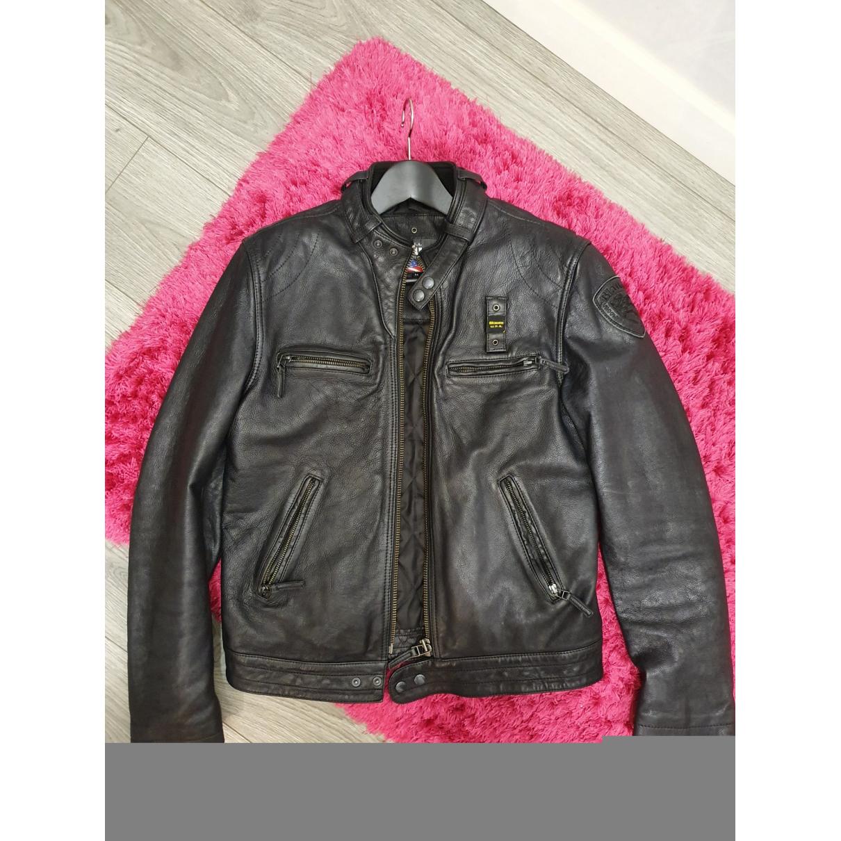 Blauer \N Jacke in  Schwarz Leder