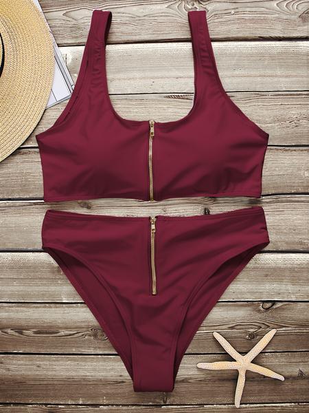 Yoins Burgundy Sexy Scoop Neck Zipper Front High-waisted Bikini Set