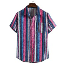 Men Multicolor Striped Pocket Front Shirt