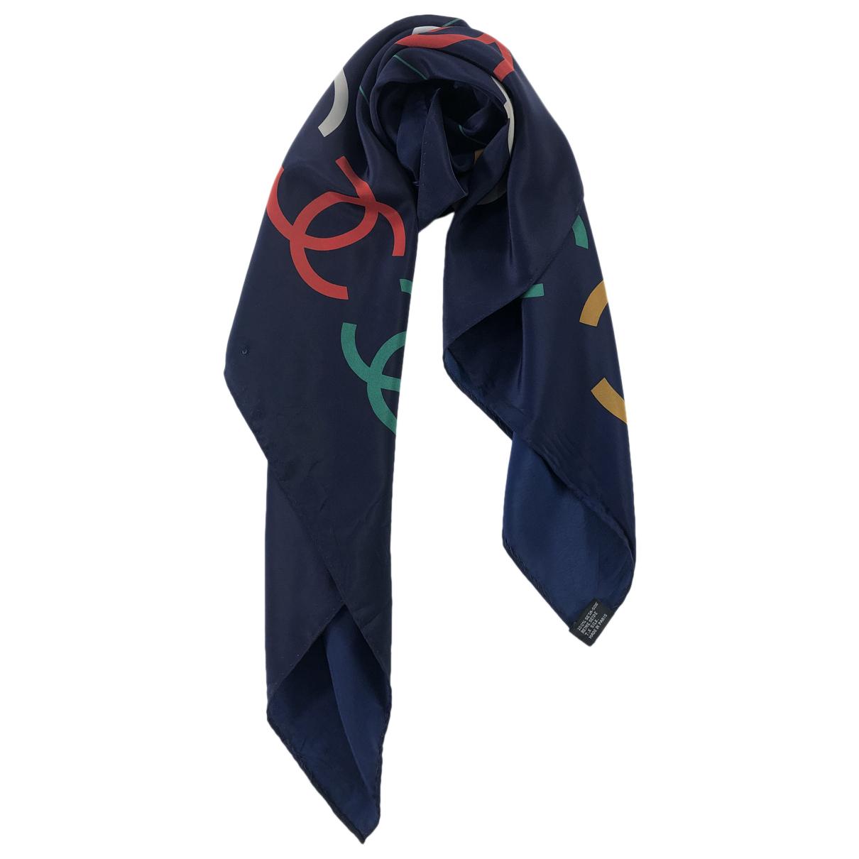 Chanel - Foulard   pour femme en soie - marine