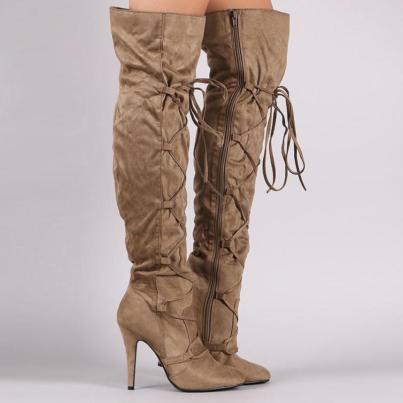 Ericdress Plain Side Zipper Pointed Toe Thread Boots