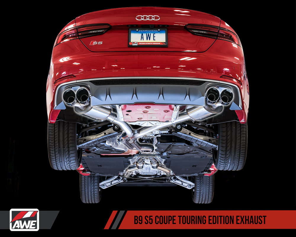 AWE Tuning 3015-42086 Audi B9 S5 Coupe Touring Edition Exhaust System Chrome Silver 90mm Tips 2017-2020