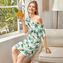Tropical & Pineapple Print Night Dress