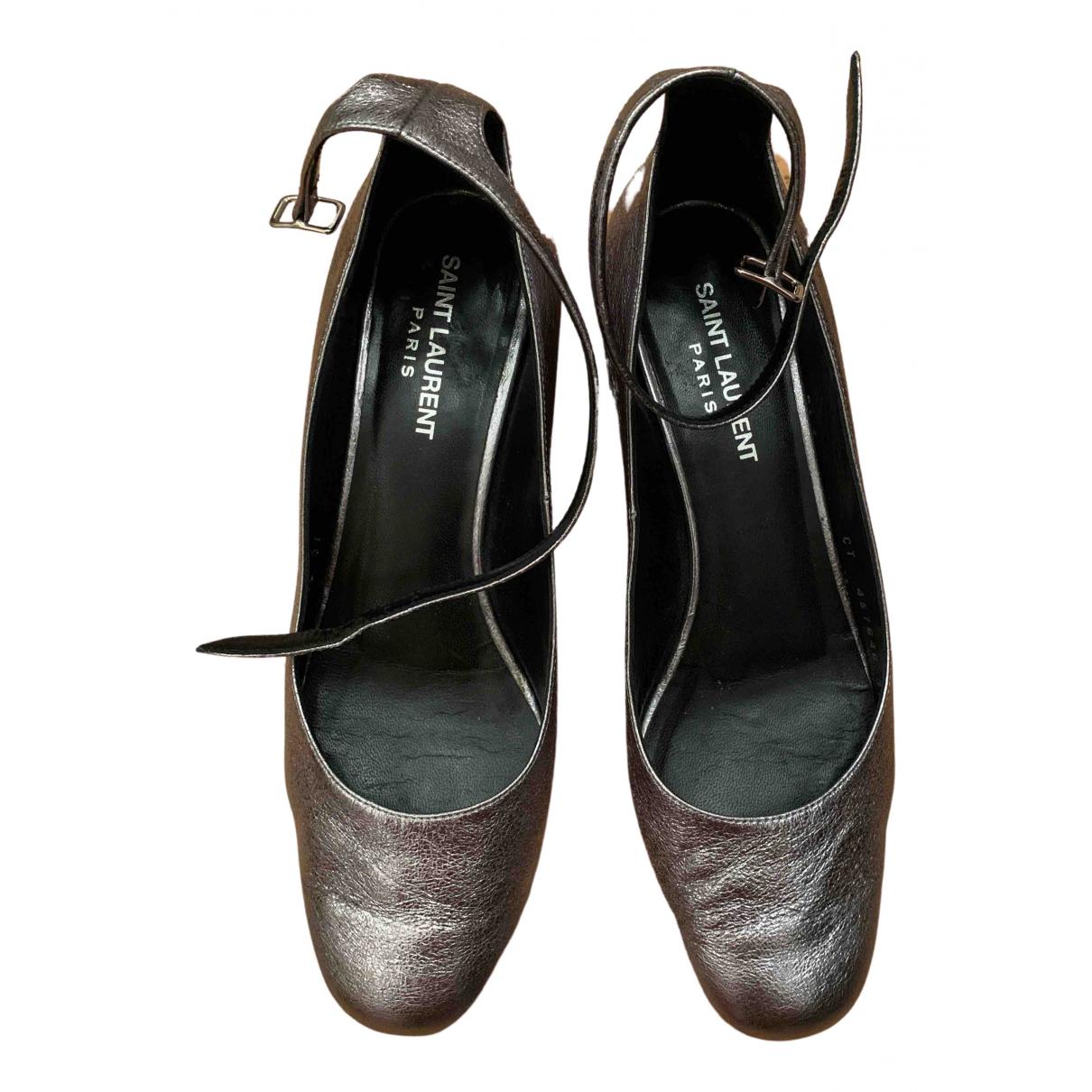 Saint Laurent N Metallic Leather Heels for Women 37 EU