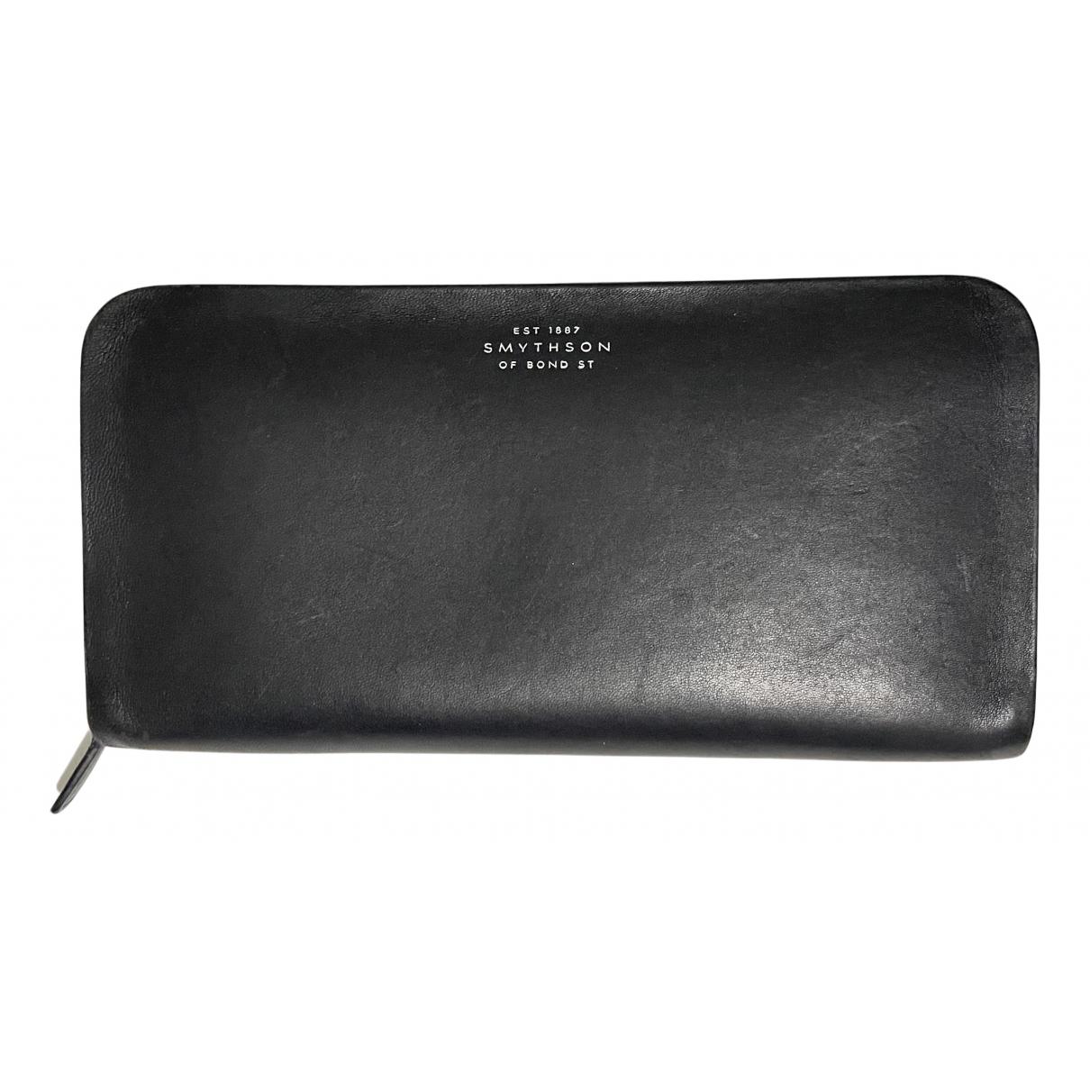 Smythson - Portefeuille   pour femme en cuir - noir