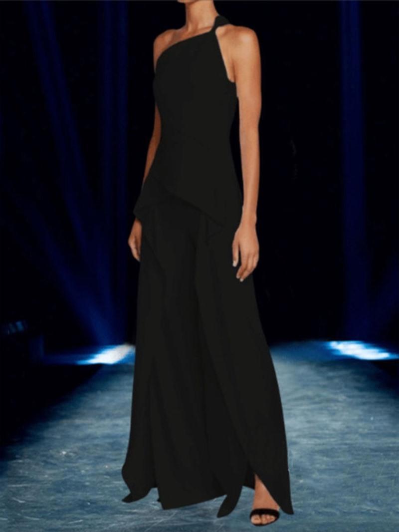 Ericdress Asymmetric Plain Full Length Slim Jumpsuit