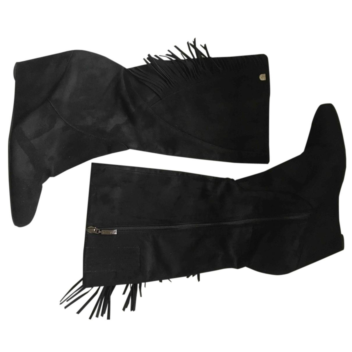 Guess \N Stiefel in  Schwarz Leder