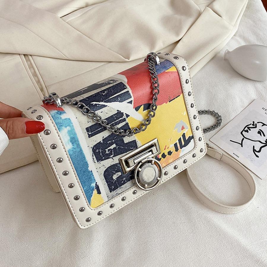 LW lovely Casual Letter Print White Crossbody Bag