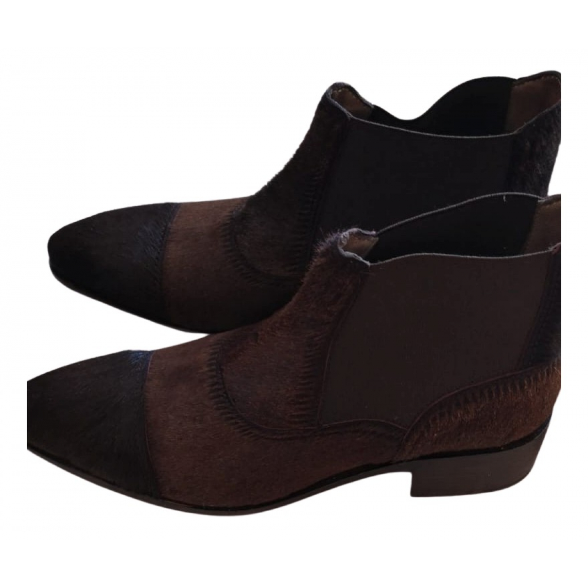 Paraboot N Brown Pony-style calfskin Ankle boots for Women 37 EU