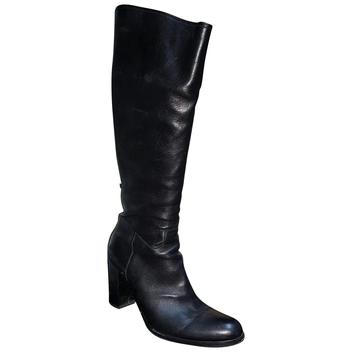 Prada \N Black Leather Boots for Women 39 EU
