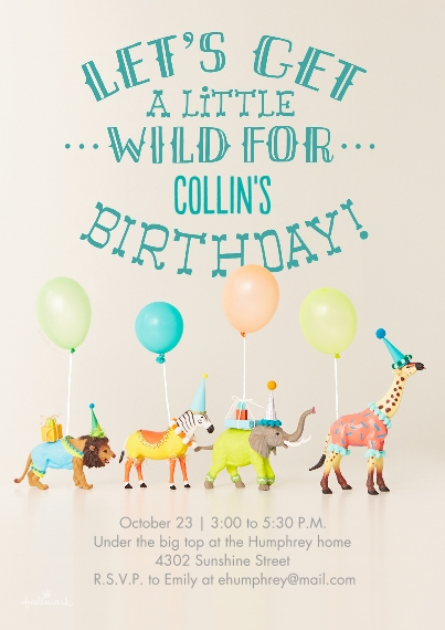 Kids Birthday Party 5x7 Cards, Premium Cardstock 120lb with Rounded Corners, Card & Stationery -Get a Little Wild