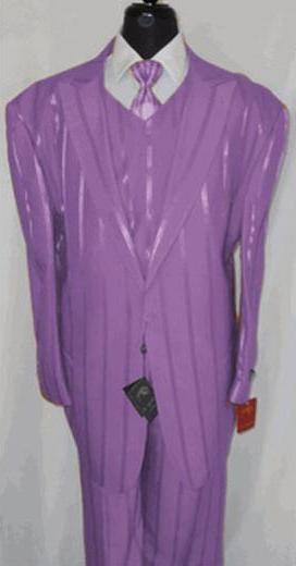 1 Button Peak Lapel Vested 3 Piece Suit Lavender